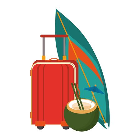Summer luggage coconut cocktail and surf table cartoons vector illustration graphic design Фото со стока - 130074574