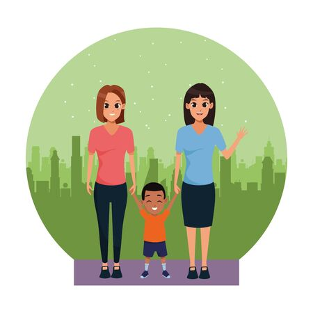 Family women couple with little afro boy smiling ,vector illustration graphic design. Иллюстрация