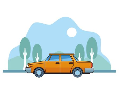 Old classic yellow car vehicle sideview on nature landscape background ,vector illustration graphic design.
