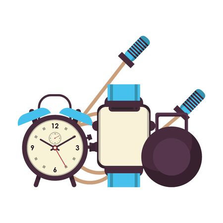 fitness equipment workout health and alarm clock watch jump rope symbols vector illustration graphic design