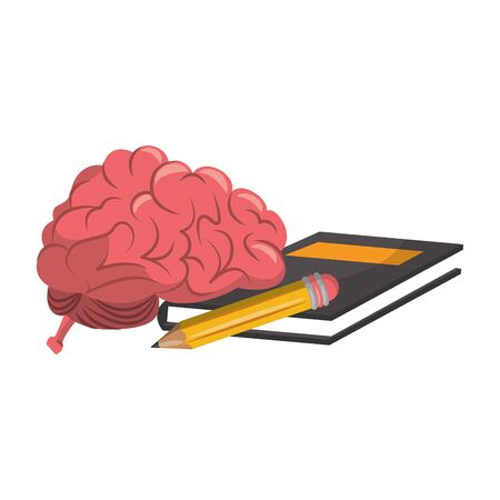 Brain with pencil and book cartoons vector illustration graphic design