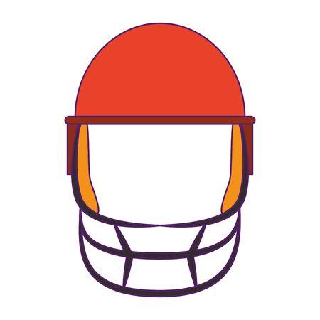 cricket equiment elements batsman helmet icon cartoon vector illustration graphic design