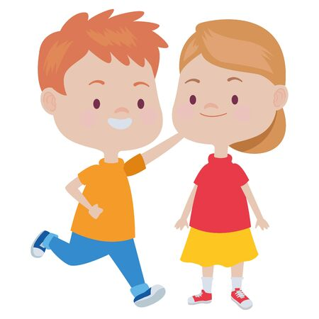 Happy kids boy and girl smiling and playing vector illustration graphic design. Çizim