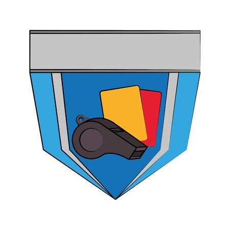 Soccer football sport game team emblem with referee cards and whistle vector illustration graphic design