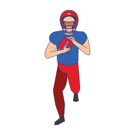 american football sport game player training with ball and wearing helmet cartoon vector illustration graphic design Ilustracja