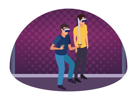 virtual reality technology, young couple living a modern digital experience with headset glassesand sword cartoon on purple digital background ,vector illustration. Иллюстрация