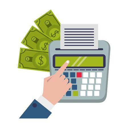 saving money business personal finance balance calculate elements cartoon vector illustration graphic design Illusztráció
