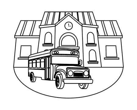 School building and bus cartoon isolated vector illustration graphic design