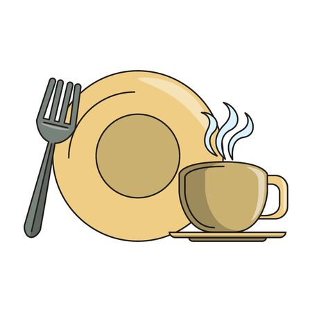 restaurant food and cuisine plate with coffee cup and fork icon cartoons vector illustration graphic design Stok Fotoğraf - 130776710