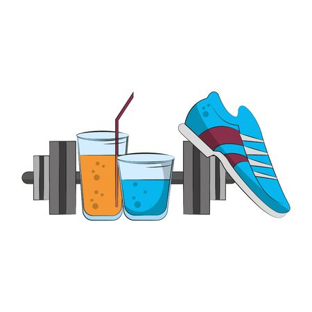fitness sport heatlhy lifestyle, gym and healthydiet objects cartoon vector illustration graphic design