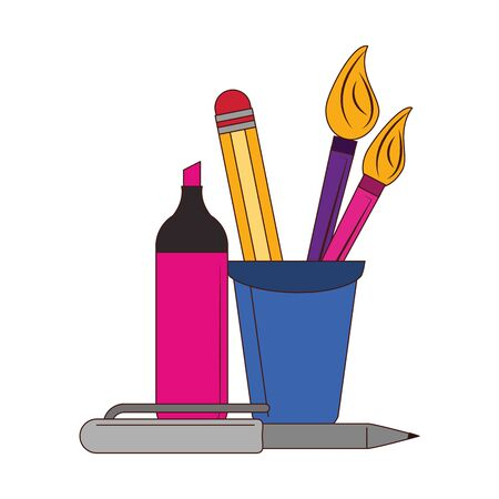 Back to school education marker and pen with brushes in cup cartoons vector illustration graphic design Çizim