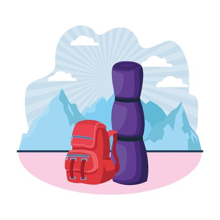 Camping travel backpack with sleeping nature mountains scenery background ,vector illustration graphic design.