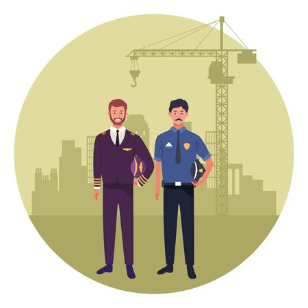 labor day employment occupation national celebration,pilot with police man workers in front city construction view cartoon vector illustration graphic design Иллюстрация