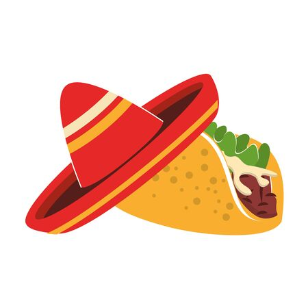 mexico culture and foods cartoons mariachi hat and taco vector illustration graphic design