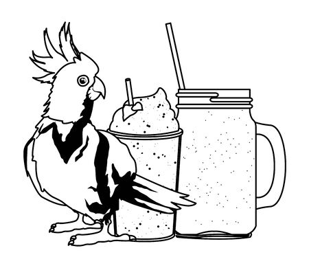 summer beach and vacation with cockatoo and smoothie drink icon cartoon in black and white vector illustration graphic design