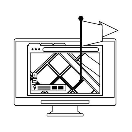computer screen technology hardware with gps location map cartoon vector illustration graphic design