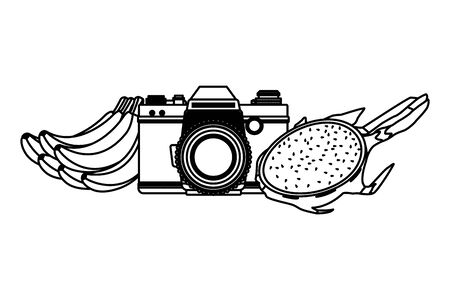 summer beach and vacation with photographic camera and tropical fruit icon cartoon in black and white vector illustration graphic design Stock Illustratie