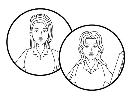 two businesswomen with long hair girls avatar cartoon character profile picture portrait in round icons black and white vector illustration graphic design 向量圖像