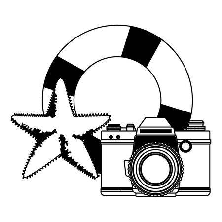 summer beach and vacation with lifebuoy, photographic camera and starfish icon cartoon in black and white vector illustration graphic design Stock Illustratie