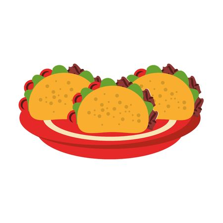 mexico culture and foods cartoons tacos on plate vector illustration graphic design