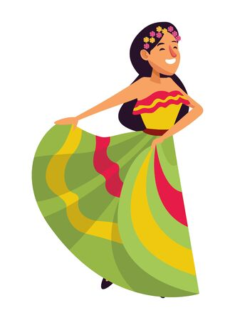 mexican traditional culture mariachis with dancer woman with flower in her hair avatar cartoon character vector illustration graphic design