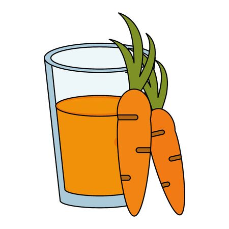 healthy drink juice carrot nature glass cartoon vector illustration graphic design Illustration