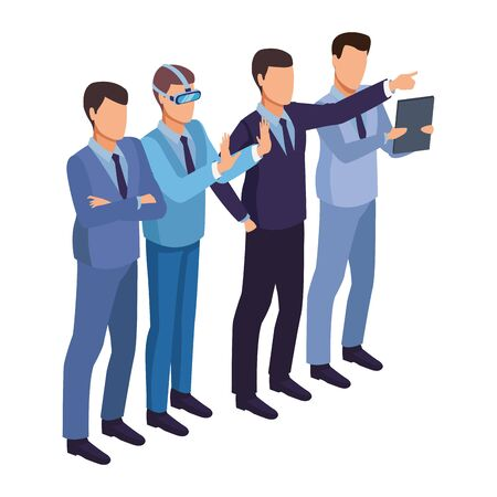 technology businessmen with virtual reality glasses symbol vector illustration graphic design