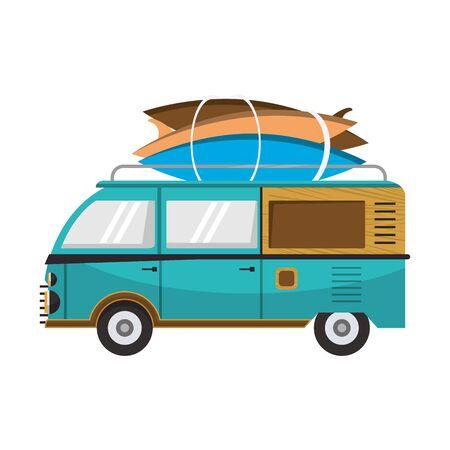 Vintage van with surf tables cartoons vector illustration graphic design Illusztráció