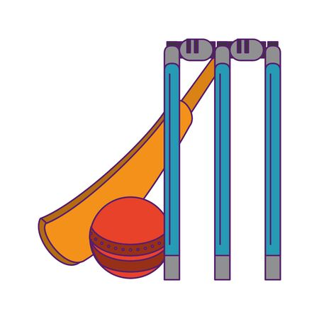 cricket equipment elements bat cricket, ball and stumps icon cartoon vector illustration graphic design