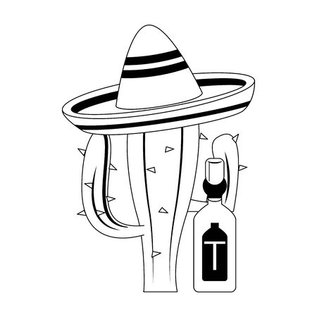mexico culture and foods cartoons tequila bottle and cactus on mariachi hat vector illustration graphic design Ilustração