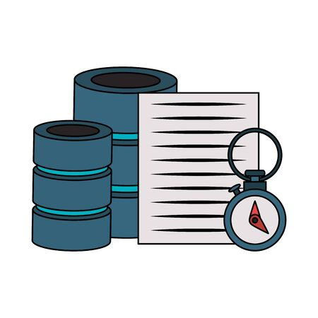 documents files system database archives cartoon vector illustration graphic design Ilustração