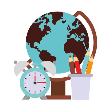 Back to school education world globe and pencils with alarm clock cartoons vector illustration graphic design Çizim
