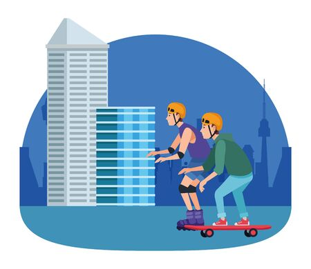 Friends with helmets riding with skateboard and skates in the city, urban scenery ,vector illustration graphic design.