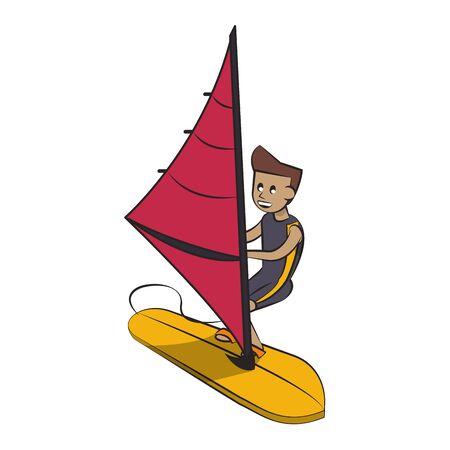 Water sport man training windsurf isolated cartoon vector illustration graphic design Stock Illustratie