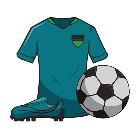 Soccer sport game t shirt ball and boot isolated vector illustration graphic design