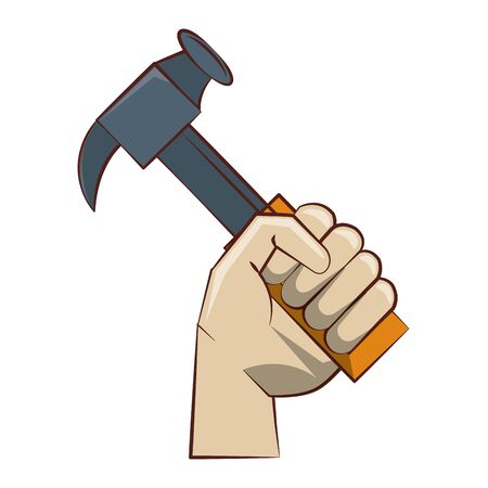 engineering construction factory industry, heavy work equipment tool hammer isolated cartoon vector illustration graphic design