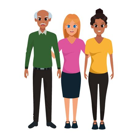 Family old father with adult daughters smiling vector illustration graphic design Ilustração