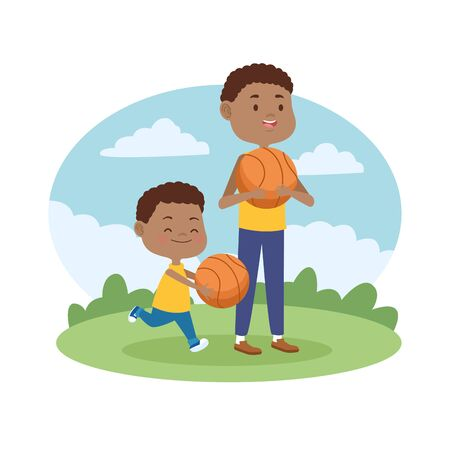 Family single father and son playing basketball at park vector illustration graphic.
