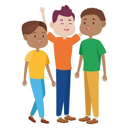 Adolescenti amici con abiti casual sorridenti e salutano cartoni animati, illustrazione vettoriale grafica.