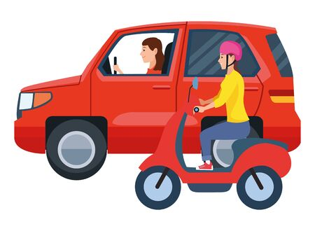 Vehicle and motorcycle drivers riding with helmet in the traffic vector illustration graphic design. Illustration