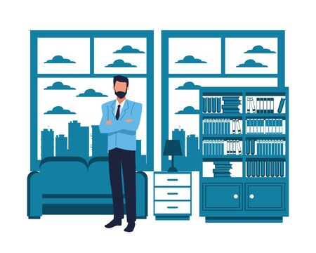 Executive businessman with arms crossed in the apartment with library and coach scenery ,vector illustration graphic design.