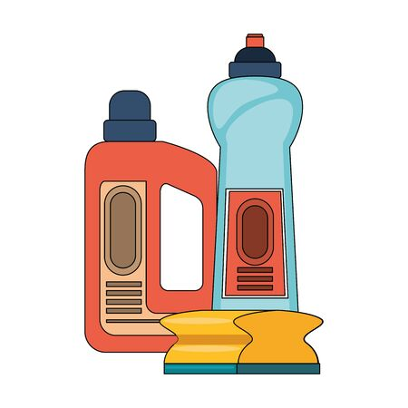 Cleaning equipment and products soap bottles with sponge vector illustration graphic design. Иллюстрация