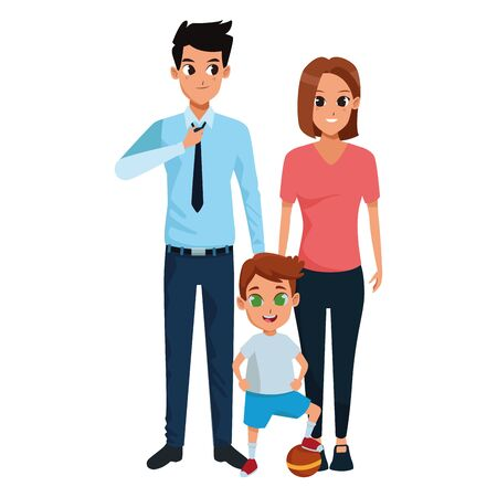 Family dad and mom with little son playing with ball vector illustration graphic design Иллюстрация