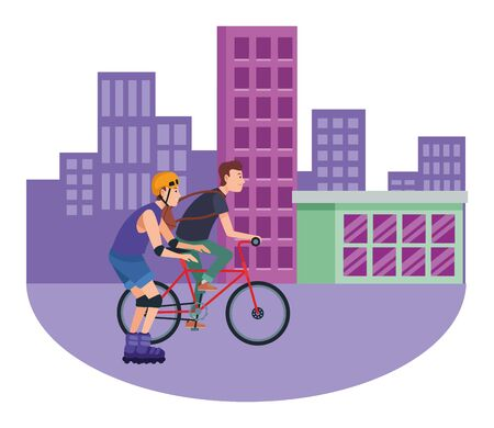 Friends riding in bicycle and skates with helmet cartoon in the city, urban scenery ,vector illustration graphic design. Illusztráció