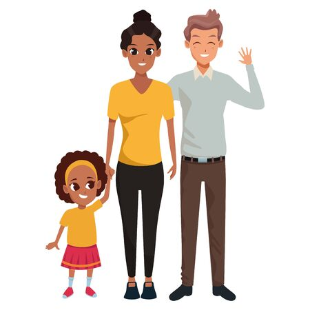 Family young father and mother with little afro daugther vector illustration graphic design