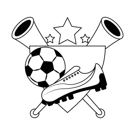 soccer football sport game competition play activity, champion player and game objects cartoon vector illustration graphic design