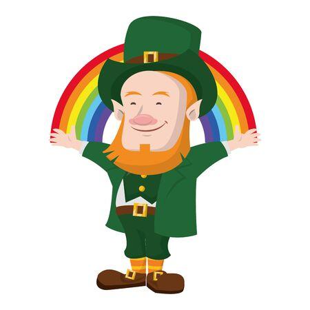 saint patricks day irish tradition green leprechaun with rainbow cartoon vector illustration graphic design