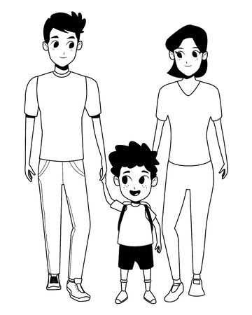 Family young dad and mom with son holding backpack cartoon isolated vector illustration graphic design