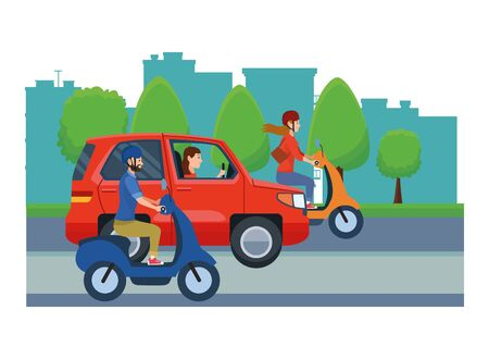 Vehicles and motorcycles drivers riding with helmet in the traffic on the city, urban scenery background ,vector illustration graphic design. Иллюстрация