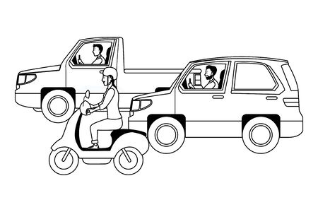 Vehicles and motorcycle drivers riding with helmet in the traffic vector illustration graphic design.